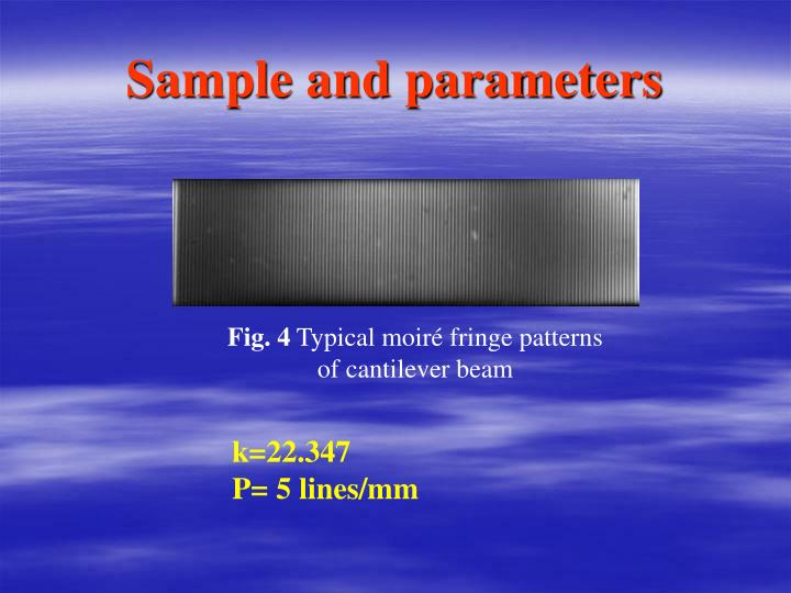 Sample and parameters
