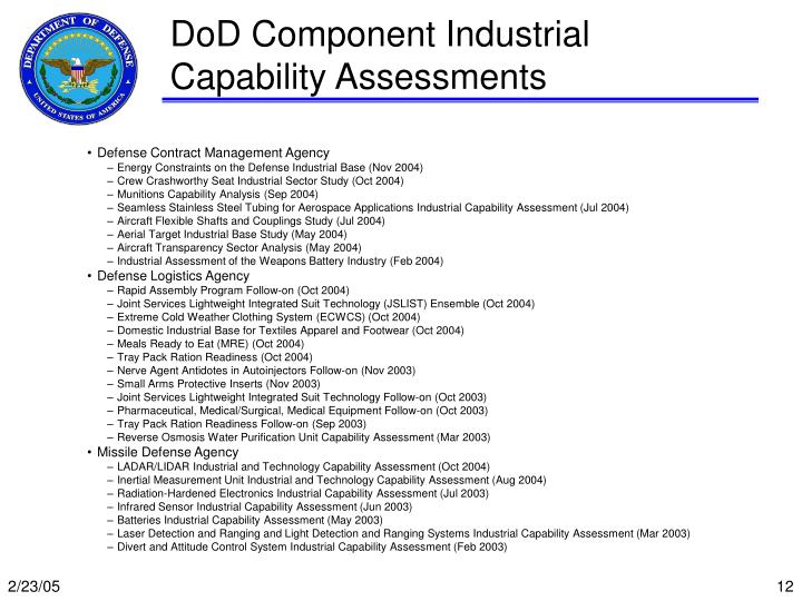 DoD Component Industrial Capability Assessments
