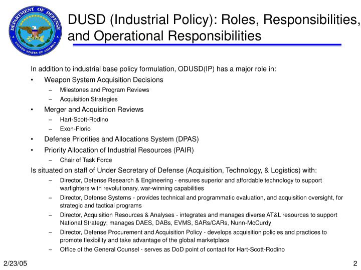 Dusd industrial policy roles responsibilities and operational responsibilities