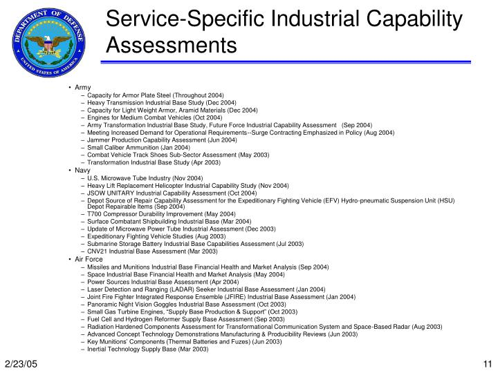 Service-Specific Industrial Capability Assessments