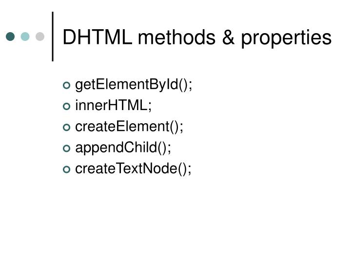 DHTML methods & properties