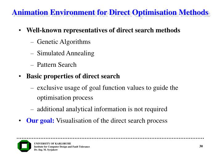 Animation Environment for Direct Optimisation Methods