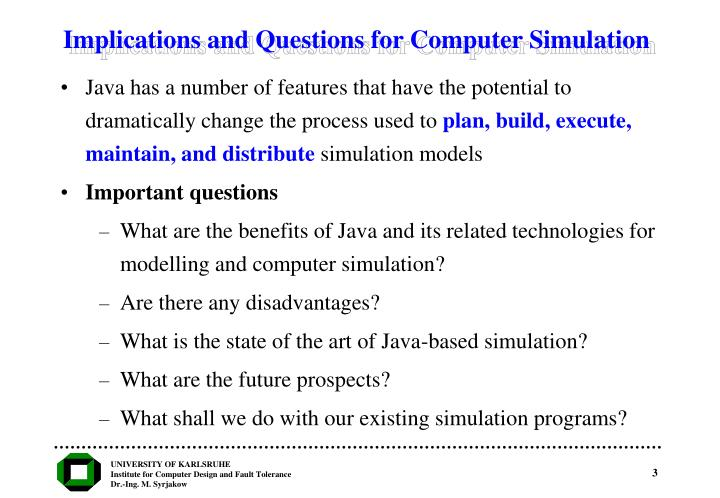 Implications and questions for computer simulation
