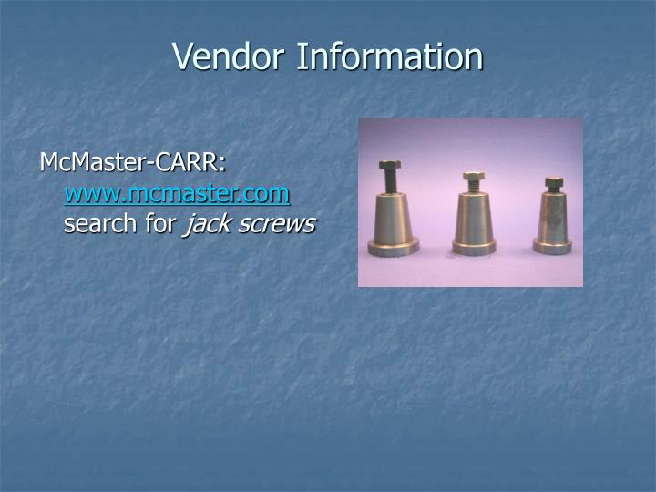 Vendor Information