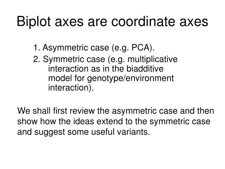 1. Asymmetric case (e.g. PCA).