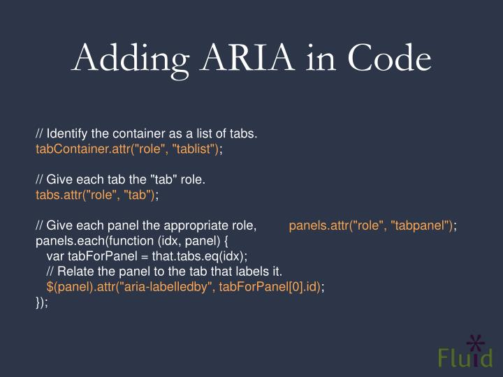 Adding ARIA in Code