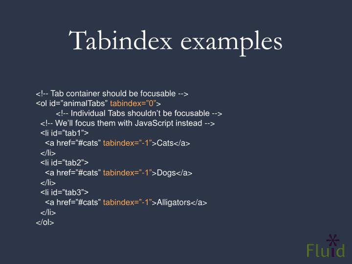 Tabindex examples