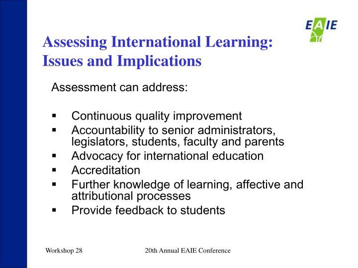 Assessing International Learning: