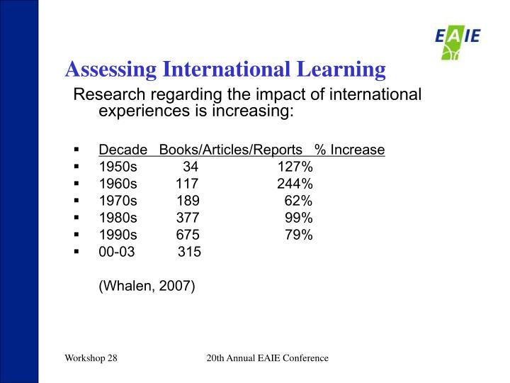 Assessing International Learning