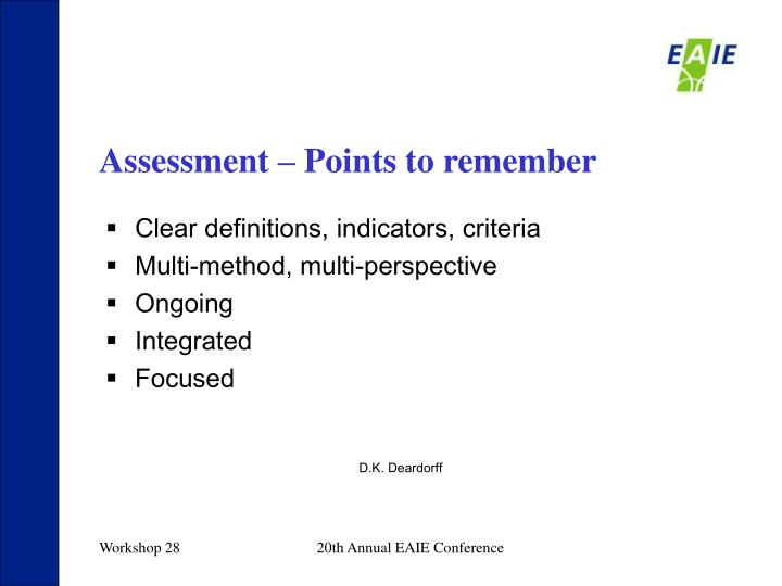 Assessment – Points to remember