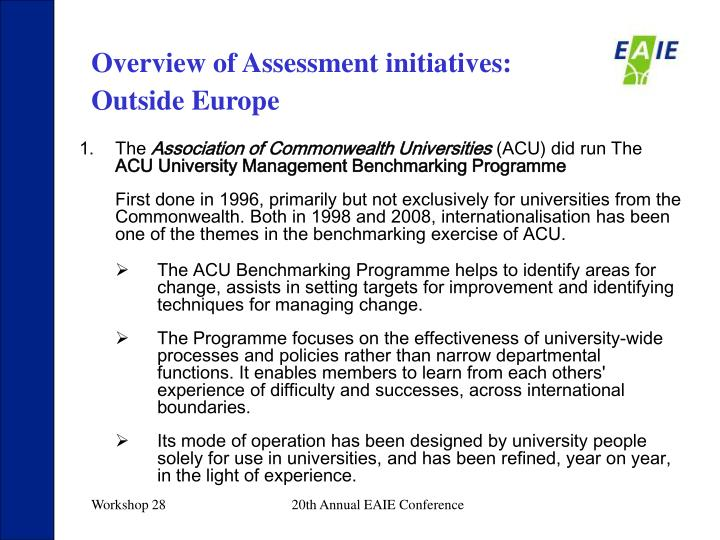 Overview of Assessment initiatives: Outside Europe