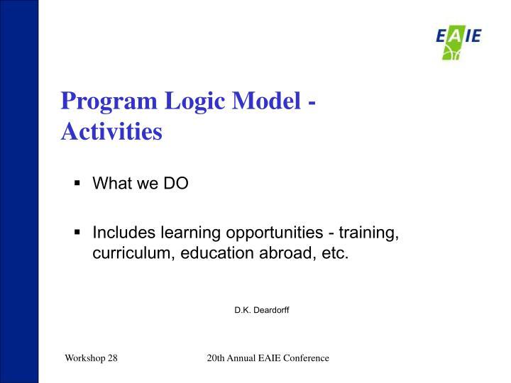 Program Logic Model - Activities