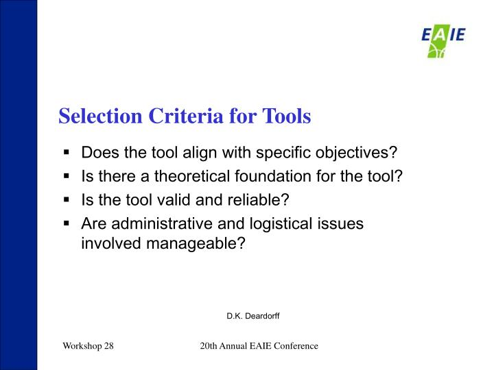 Selection Criteria for Tools
