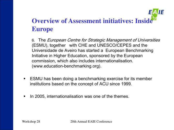 Overview of Assessment initiatives: Inside Europe
