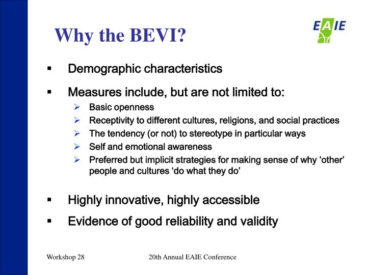 Why the BEVI?