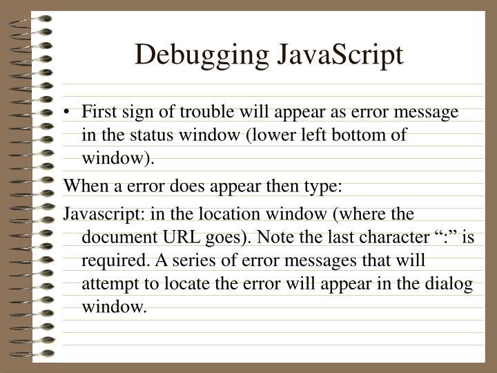 Debugging JavaScript
