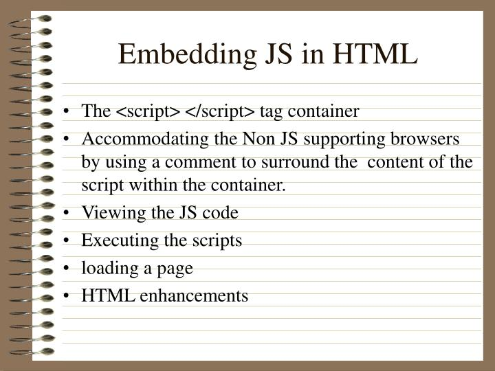 Embedding JS in HTML