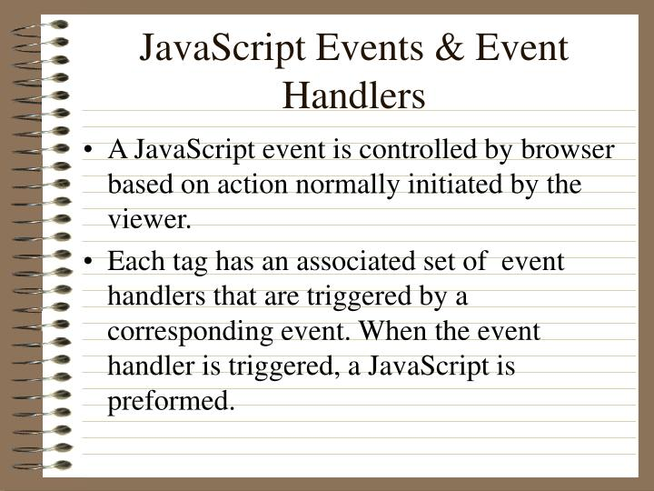 JavaScript Events & Event Handlers