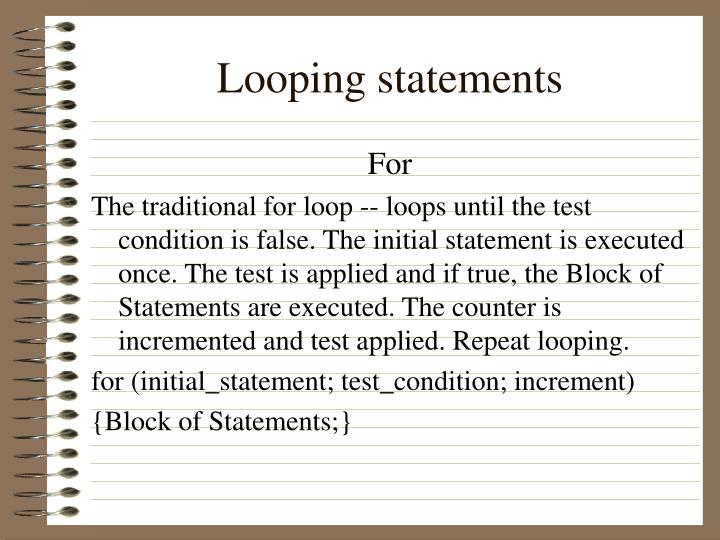 Looping statements