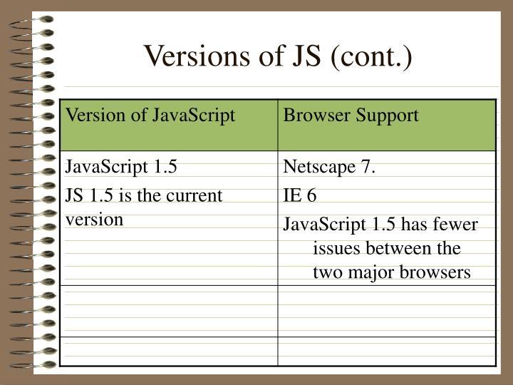 Versions of JS (cont.)