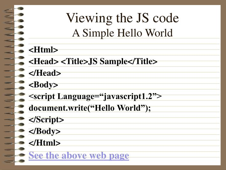 Viewing the JS code
