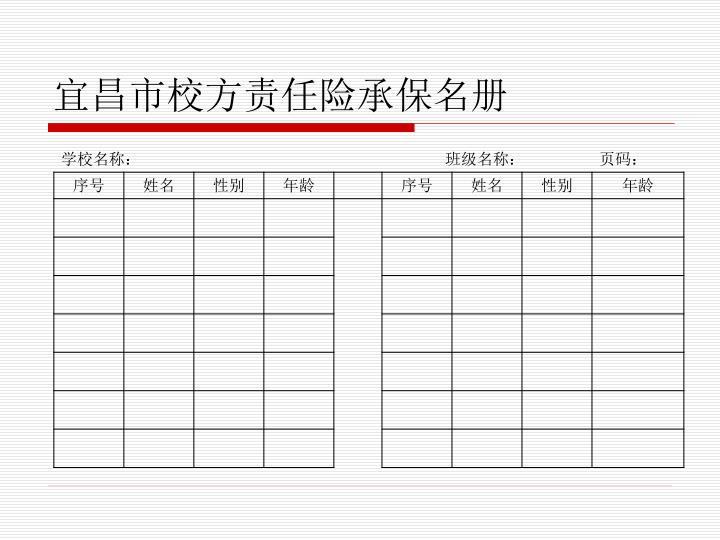 宜昌市校方责任险承保名册