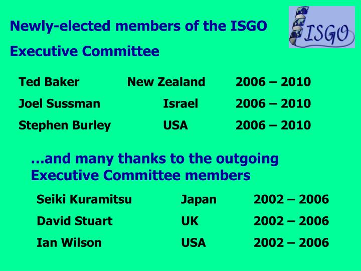 Newly-elected members of the ISGO