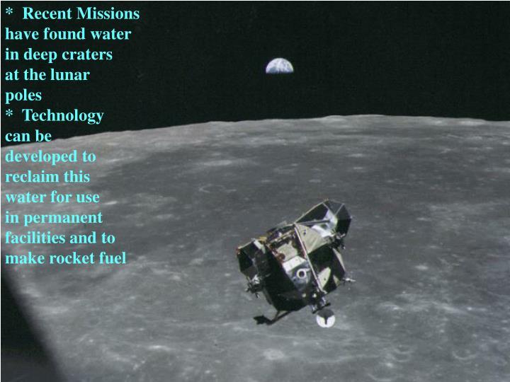 *  Recent Missions