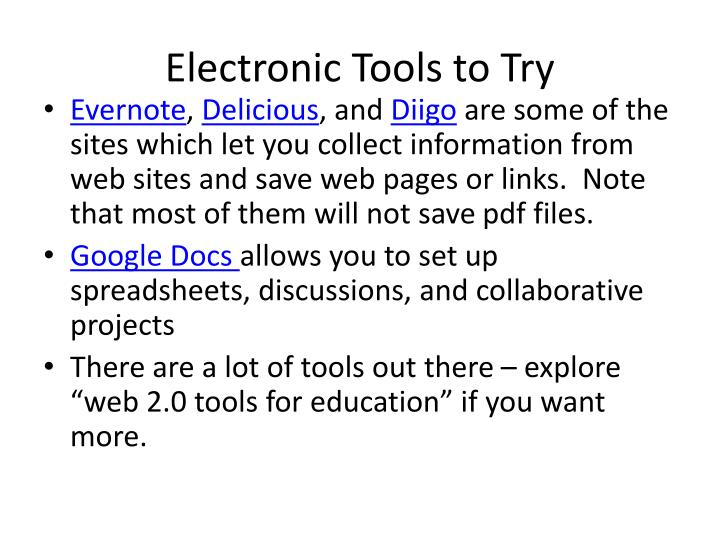 Electronic Tools to Try