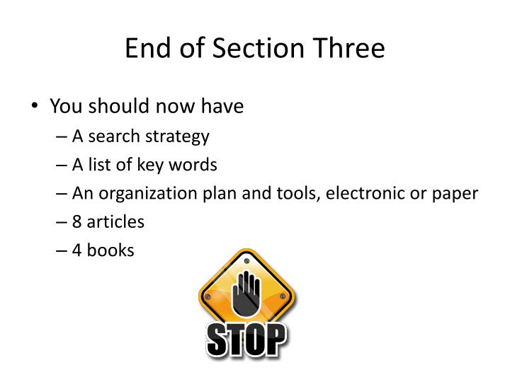 End of Section Three