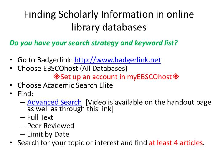 Finding Scholarly