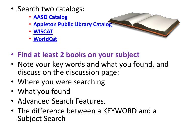 Search two catalogs: