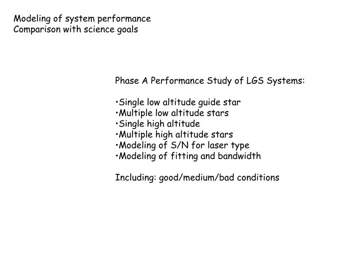 Modeling of system performance