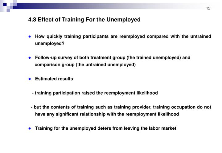 4.3 Effect of Training For the Unemployed