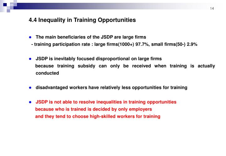 4.4 Inequality in Training Opportunities