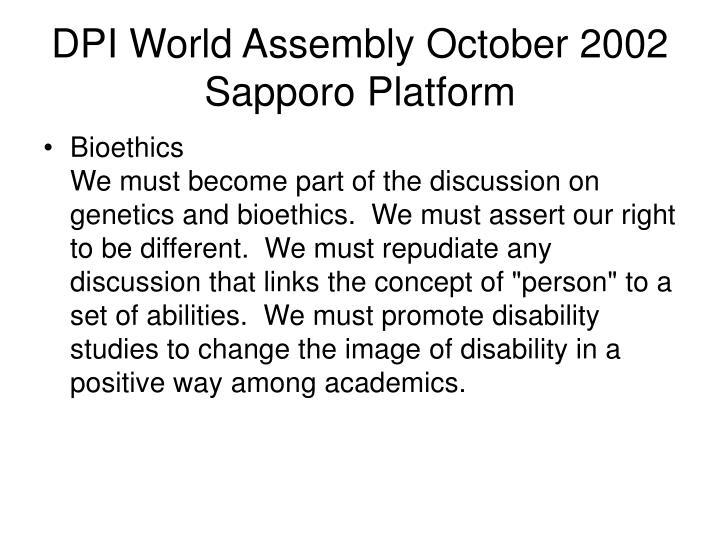 DPI World Assembly October 2002