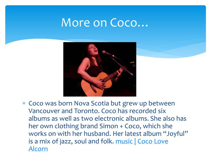 More on Coco…
