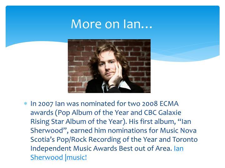 More on Ian…