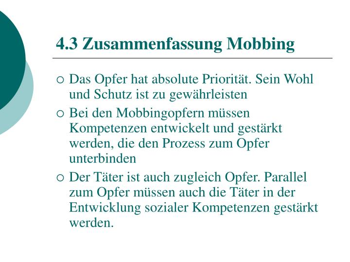 4.3 Zusammenfassung Mobbing