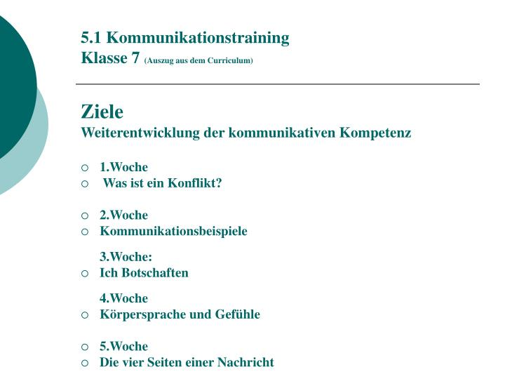 5.1 Kommunikationstraining