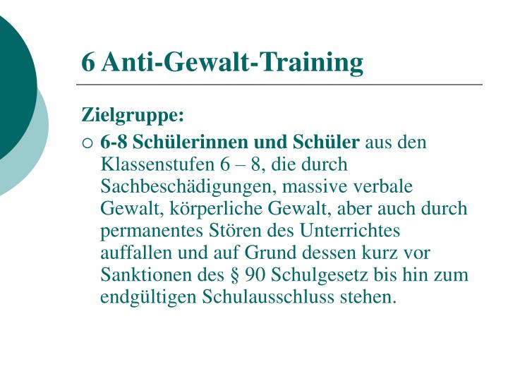 6 Anti-Gewalt-Training