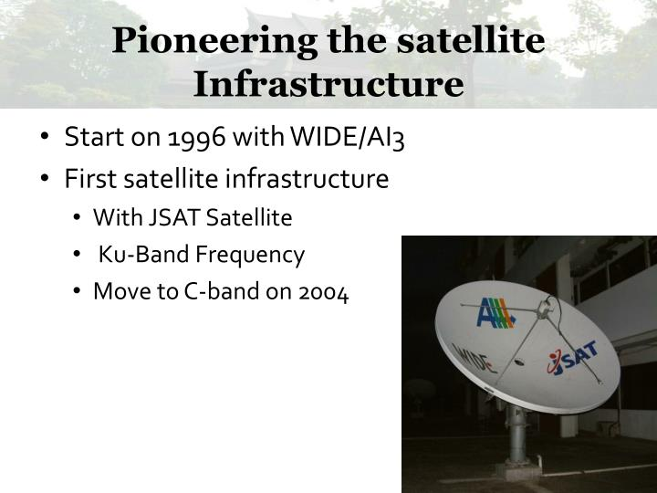 Pioneering the satellite Infrastructure