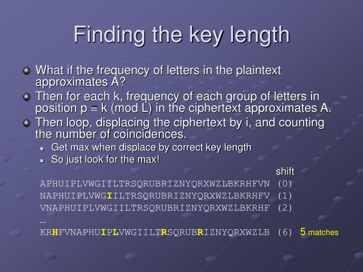 Finding the key length
