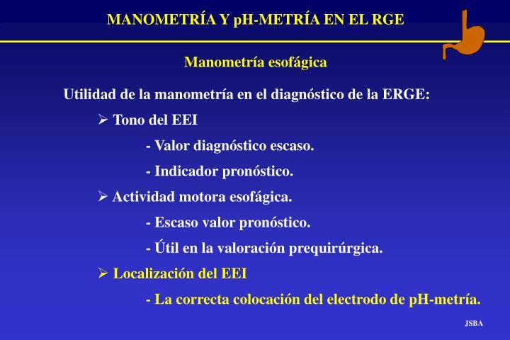 Utilidad de la manometría en el diagnóstico de la ERGE: