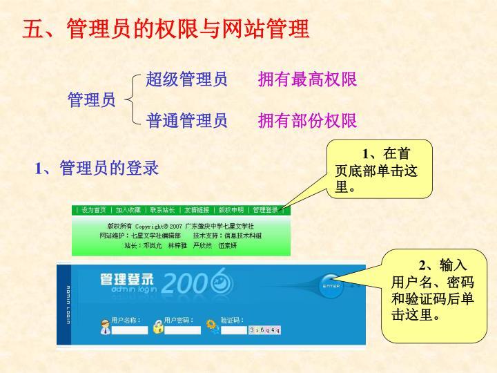 五、管理员的权限与网站管理