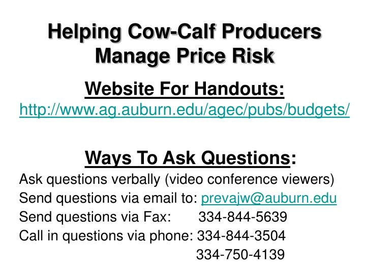 Helping Cow-Calf Producers