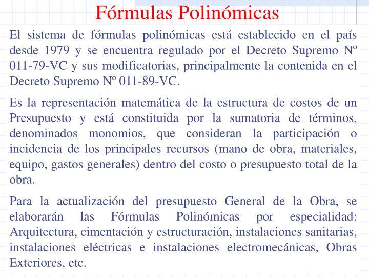 Fórmulas Polinómicas