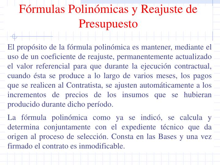 Fórmulas Polinómicas y Reajuste de Presupuesto