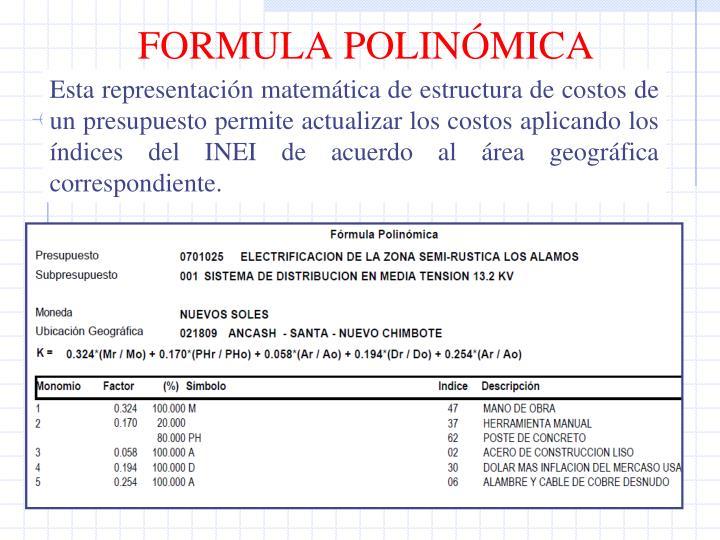 FORMULA POLINÓMICA
