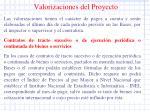 valorizaciones del proyecto
